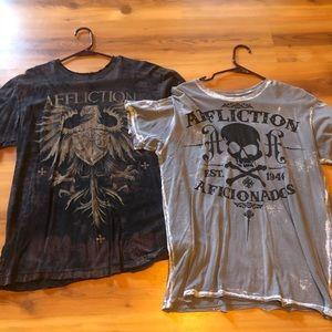 2 Men's Affliction shirts